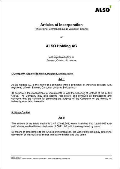 ALSO Holding AG - Articles of Incorporation 29.03.2019