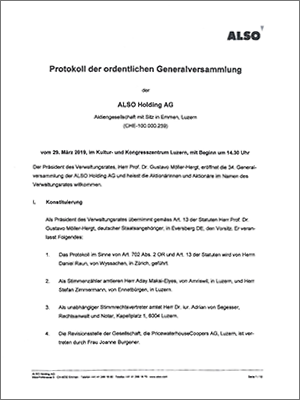 Minutes of the Ordinary General Meeting (only available in German) - March 29, 2019
